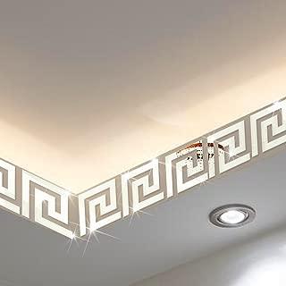 Mirror Border, ITTA X-Large 25pcs x15x15cm DIY 3D Acrylic Maze Pattern Border Ceiling Stickers Wall Decor Home Art Mural Wedding Room Hotel Decal (Silver)