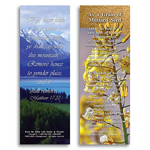 eThought Bible Verse Cards, by - Matthew 17:20 - As a Grain of Mustard Seed - Pack of 25 Bookmark Size Cards (BB-B020-25)