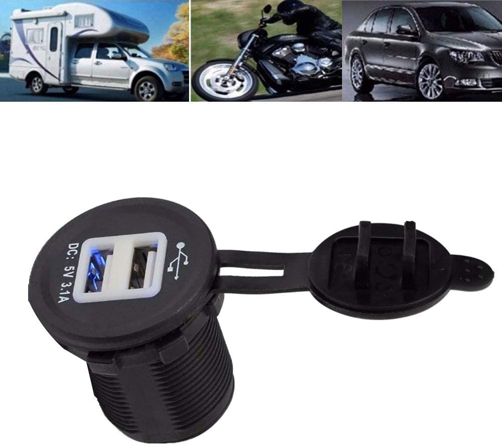 hudiemm0B Dual USB Charger Socket Waterproof Car Truck Van Boat Motorcycle 5V 3.1A Dual USB Power Charger Adapter