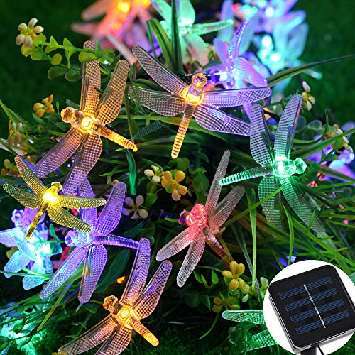 Xnuoyo 5M 40 LED Solar Powered Dragonfly Light Outdoor Solar Fairy Lights Waterproof String Lights with 2 Modes for Outdoor Garden Christmas Party Decorations
