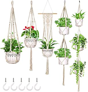 OurWarm 5 Pack Macrame Plant Hanger Hanging Planters with 5 Hooks, Handmade Cotton Rope Hanging Plant Decorative Flower Po...