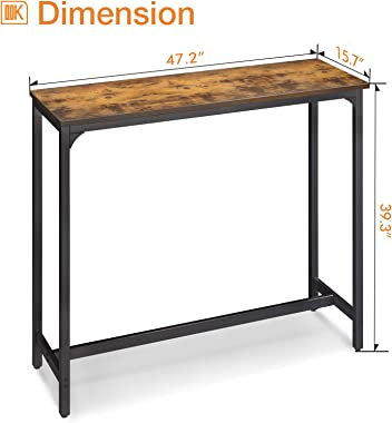 """ODK Bar Table 47"""", Bar Height Pub Table, Rectangle High Top Kitchen & Dining Tables with Sturdy Legs & Easy-to-Cl"""