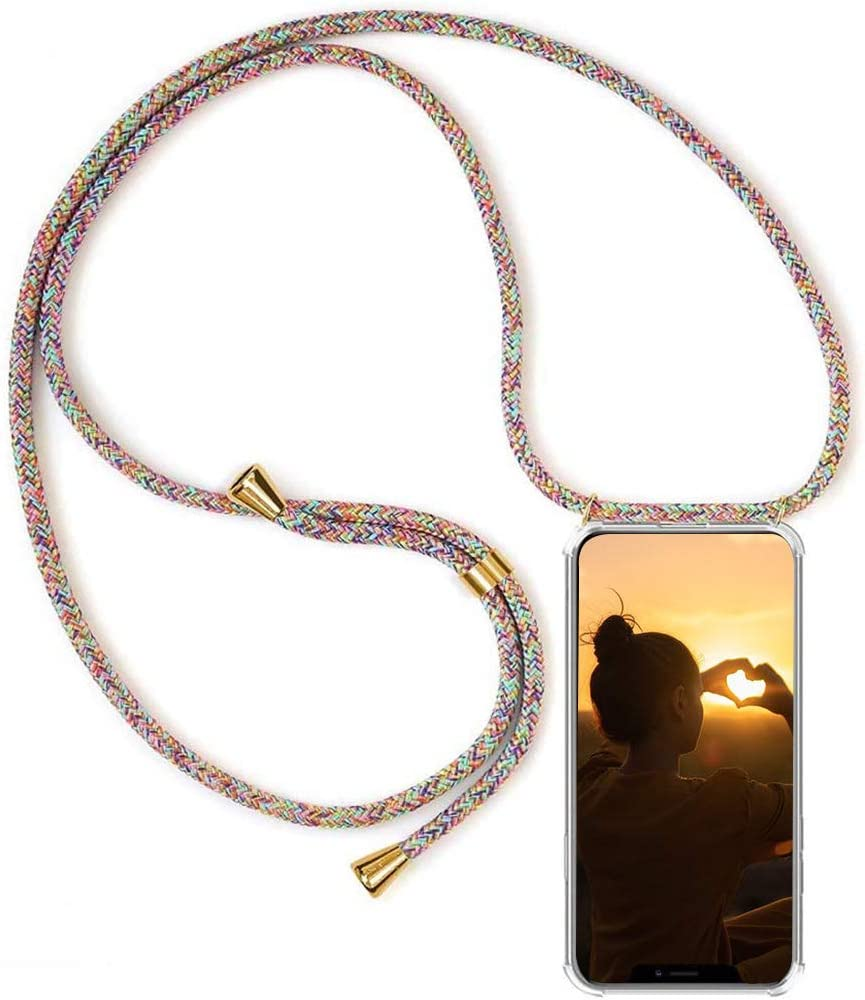 MXKOCO Compatible with OnePlus 8 Pro Case Holder with Neck Cord Lanyard Strap for OnePlus 8 Pro TPU Necklace Phone Cover//Case Adjustable Length Lanyard Mobile Phone Chain Rose Glod