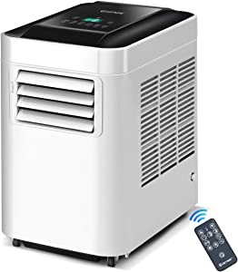 COSTWAY 10,000 BTU Portable air Conditioner, Portable Air Cooler Bladeless for Indoor Home Office Dorms with Cool Fan Dehumidify & Sleep Modes with Remote Control (White and Black)