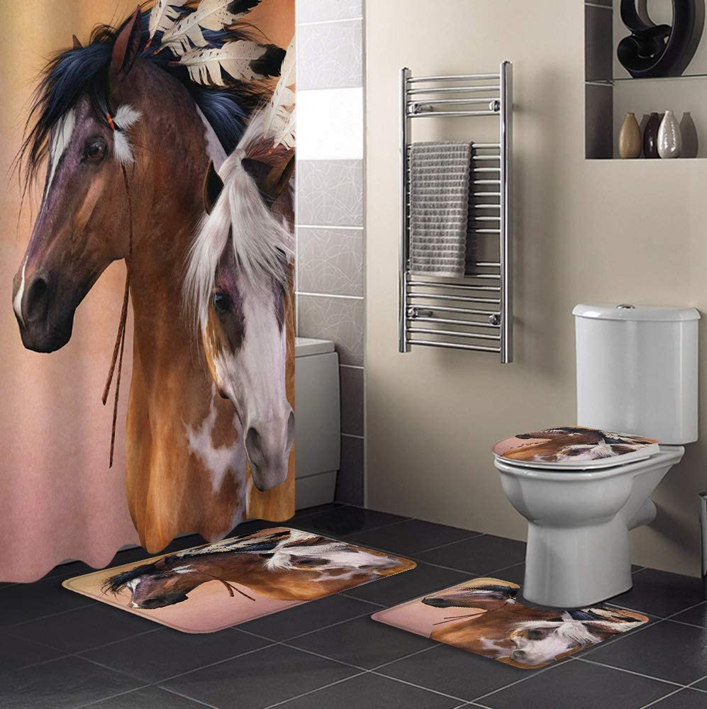 MUSEDAY 4 Piece Overseas parallel import regular item Shower Curtain Set Non-Slip Toilet Lid with Ranking TOP11 Rug