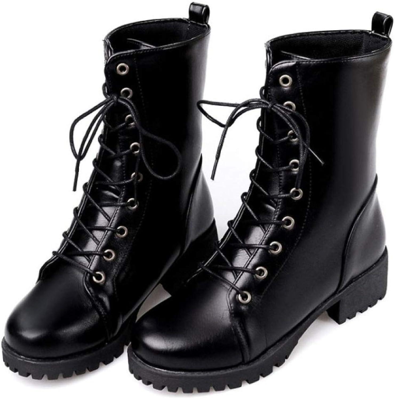 Women's Winter Leather Martin Boots, Plus Velvet Lining Lace-up Boots EU36-41,Black-CN37