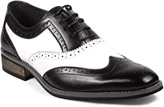 UV Signature PA002 Men's Two Tone Perforated Wing Tip Lace Up Oxford Dress Shoes (7.5, Black White)