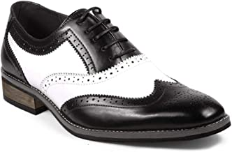 UV SIGNATURE PA002 Men's Two Tone Perforated Wing Tip Lace Up Oxford Dress Shoes