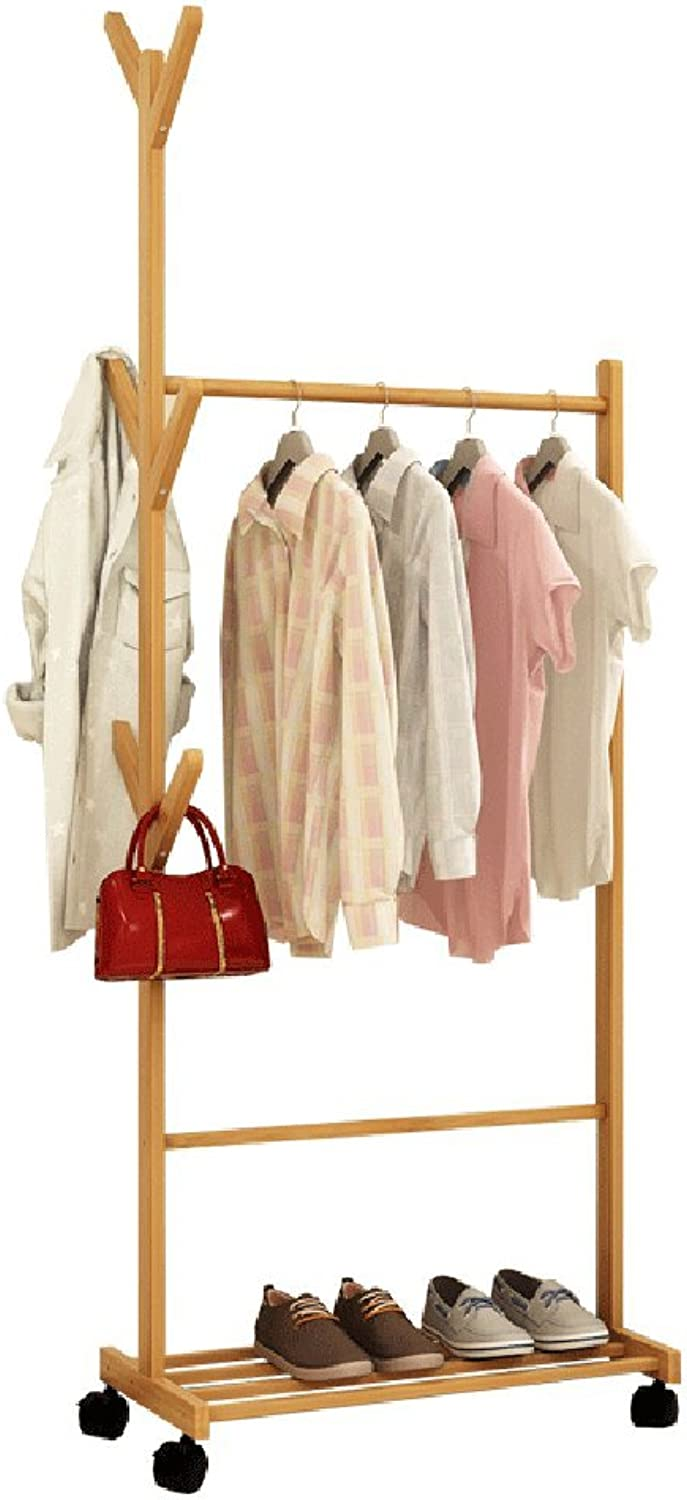 JPYMJ Clothes Stand Bamboo for Bedroom Drying Wood with shoes Rack Coat Racks (Size   60cm)