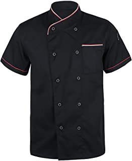 iiniim Chef Coat Chef Jacket Service Kitchen Cook Uniform Short Sleeves with Piping