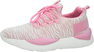 LUCKY-STEP Casual Lightweight Sneakers Breathable Mesh Running Shoes for Women and Ladies (8.5 B(M) US, Pink)
