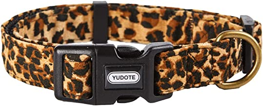 YUDOTE Dog Collars, Adjustable Pet Collars for Small Medium Large Dogs and Puppies, Zebra and Leopard Pattern, Skin-Friendly Flocking, Well Made, Soft & Comfy