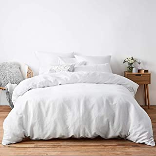 CASAVIA 400- Thread Count 100% Cotton Duvet Set, 3-Piece Queen Size Duvet Set White Color Luxurious Duvet Covers with Smooth Sateen Weave