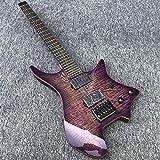 FATEGGS Guitarra eléctrica sin cabeza Guitarra eléctrica Cuerpo de caoba con hardware de arce cosido negro Accesorios de guitarra (color : guitarra, tamaño: 96,5 cm)
