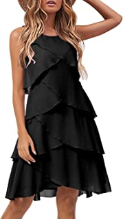 Women's Casual Tiered Ruffle Wedding Guest Cocktail Dress