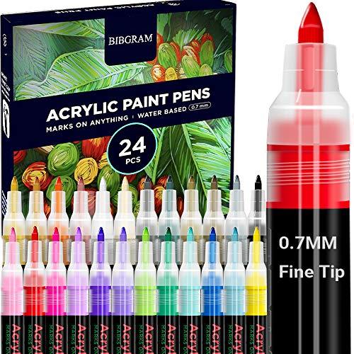 BIBGRAM Acrylic Paint Markers Pens Set [24 Colors],0.7mm Fine Tip Water Based for Rock, Wood, Glass, Ceramic, Canvas, Mug, Stone, Plastic, Card Making, Metal