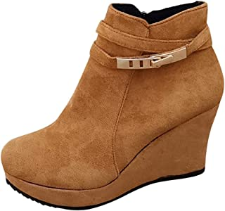 Women Wedge Short Boots Ankle, Ladies Solid Round Toe Fashion Buckle Suede Warm Booties