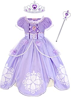 Jurebecia Princess Sofia Costume for Girls Belle Aurora Dress Fancy Birthday Party Dress up Cosplay Outfit 1-12 Years