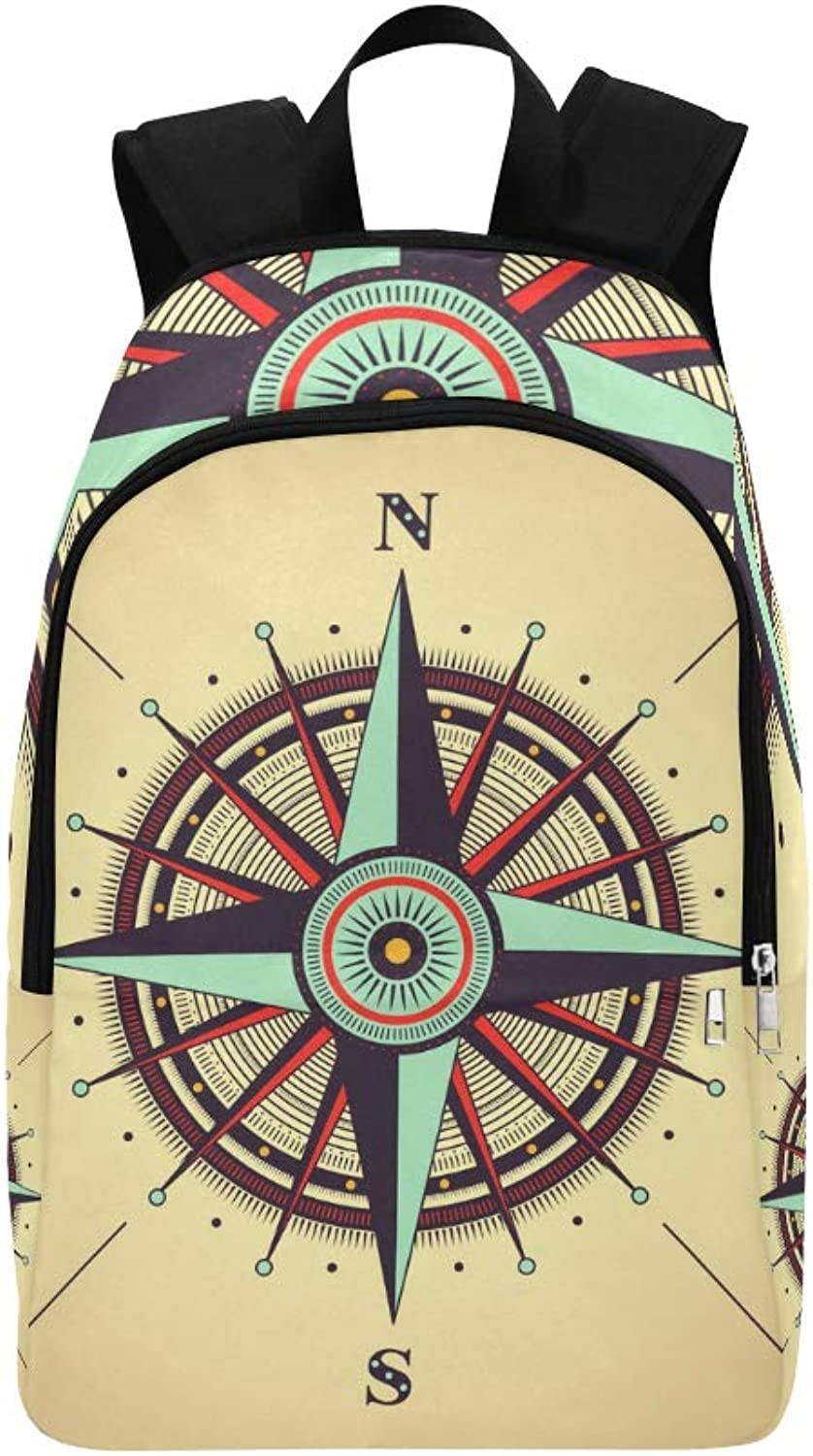 Retro Compass Compass Casual Daypack Travel Bag College School Backpack for Mens and Women