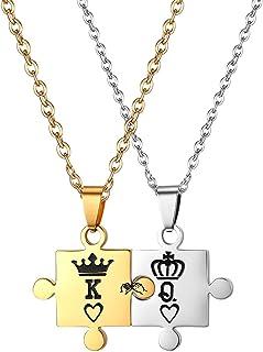 Flongo Collana da Uomo Donna Coppia Fidanzati,King Queen Cuore in Acciaio Inossidabile, Colore Argento Oro, Collana Puzzle...