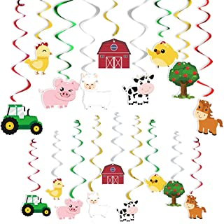 WERNNSAI Farm Animals Hanging Party Decorations - Barnyard Theme Party Supplies Hanging Swirl for Kids Birthday, Baby Show...