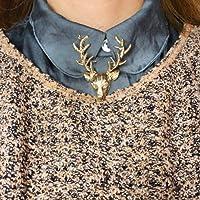 ONLYホットファッションジュエリーレトロロングホーン鹿ヘラジカヘッド Peacebird クリスマス鹿ブローチピン男性と女性のジュエリー (Gold)