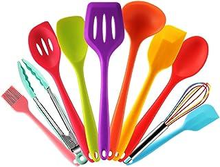 comprar comparacion Set utensilios de cocina silicona de colores con Espátula,Cuchara,Cucharon,Espumadera,Batidor de Varillas,Pinzas Pincel de...