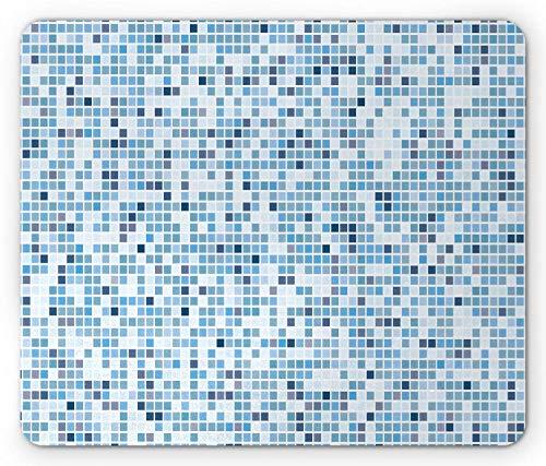 Art Blue Mouse Pad, Grafische Herhalende Zwembad Verwante Mozaïek Ontwerp van Kleine Vierkante Tegels, Rechthoek Antislip Rubber Mousepad