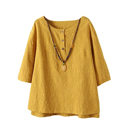 f9ff25d300999 Vogstyle Women s New Cotton Linen Tunic Tee Shirt Jacquard Tops