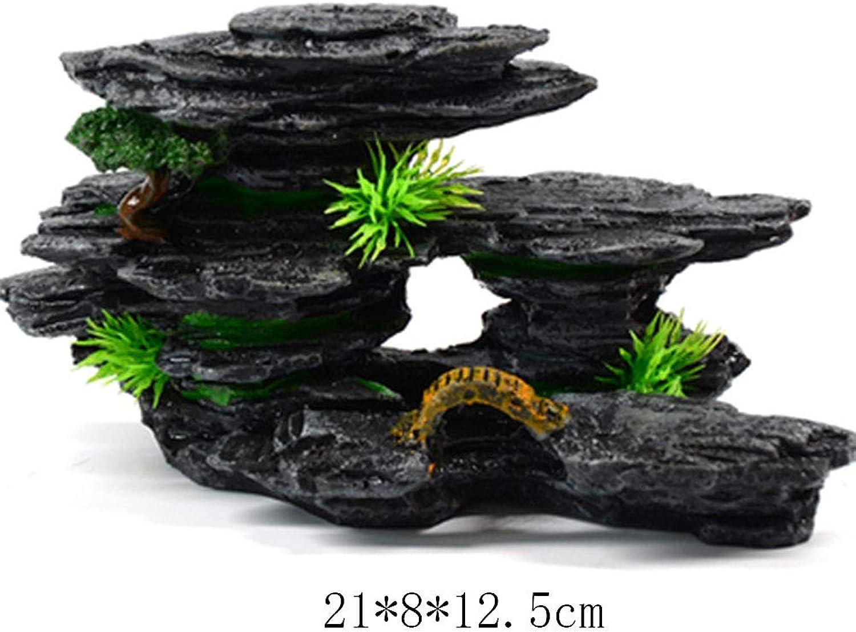 MAGO Small Aquarium Ornament Landscaping Real Water Grass Background Rockery Ornaments Aquarium Plant Set Pebbles (Shape   4)