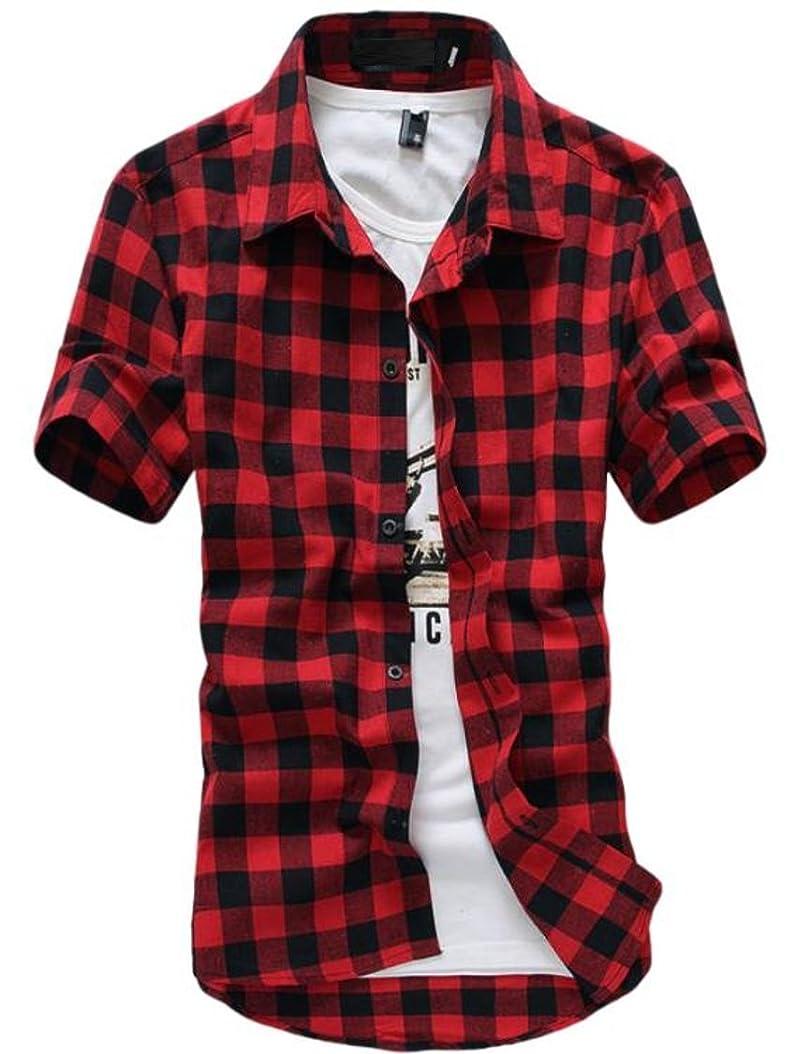 ダッシュ応じる偽物[meryueru(メリュエル)] カジュアル 半袖 クラシック チェックシャツ オシャレ ネルシャツ ファッション メンズ