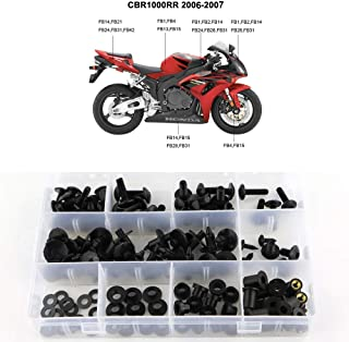 Xitomer Full Sets Fairing Bolts Kits, for Honda CBR1000RR 2006 2007, Mounting Kits/Washers/Nuts/Fastenings/Clips/Grommets (Matte Black)