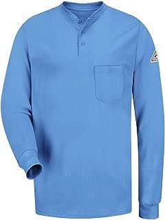Bulwark Men's Flame Resistant 6.25 Oz Cotton Long Sleeve Tagless Henley Shirt