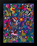 Amazing Multicoloured Mexican Tapestry on Blue Background Framed Art Print by Anonymous