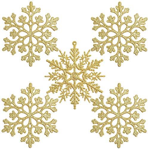 ETHEL Fiocchi di Neve Natale Decorazione,24 Pezzi Fiocchi di Neve Decorazione dell'Albero di Natale,Ornamenti in Fiocco di Neve in plastica,per Decorazioni Natalizie per Feste di Matrimonio (d'oro)
