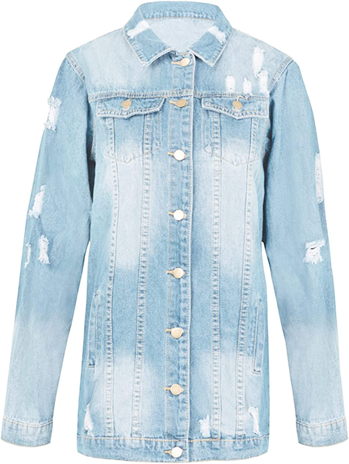 RUIY Fall Jackets for Women,Womens Denim Ripped Distressed Long Sleeve Button Down Long Casual Jean Jackets Solid Coat