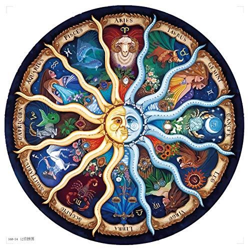 EACHHAHA 1000 Piezas Puzzle,Doce Constelaciones Redondas Puzzles para Adultos, Rompecabezas de Piso Juego de Rompecabezas y Juego Familiar