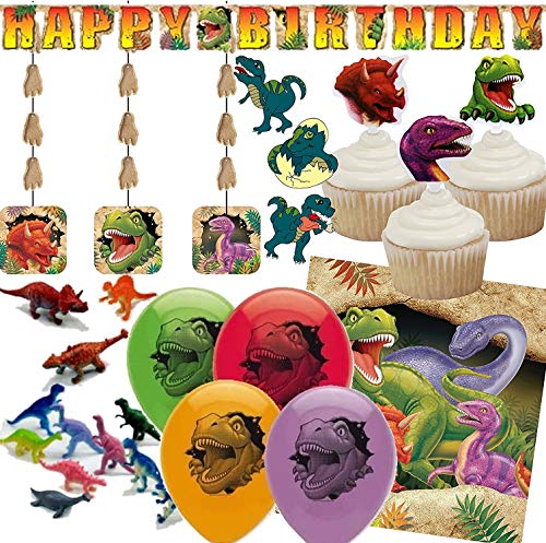 89-delige decoratieset * DINOS * voor kinderverjaardag en themafeest | met tafelkleed + slinger + cupcake-toppers + luchtballonnen + dekdecoratie + luchtslingers // kinderen verjaardag dinosaurus T-Rex