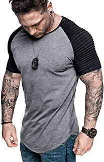 DADKA Men's Raglan Jersey Shirt Summer Pleats Slim Fit Short Sleeve Top Blouse Casual T-Shirt
