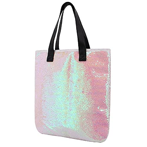 Orfila Fashion Two Tone Reversible Sequin Tote Bag PU Leather Handbag  Glitter Paillette Shoulder Bag for a2b9ccaaad