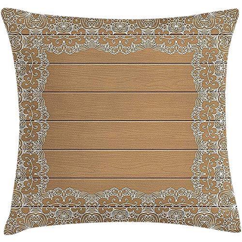 GodYo Vintage Throw Pillow Kussenovertrek, houten plank met Lace Style Floral Ornaments Framework romantische retro print, kussensloop