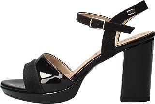 VALLEVERDE Sandalo Scarpe Tacco Pelle Donna Argento Glitter