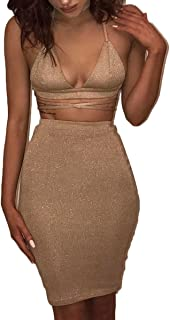 6f44333ee8b ioiom Women s Glitter V Neck Halter Backless Sleeveless Bandage Bodycon  Midi Dress
