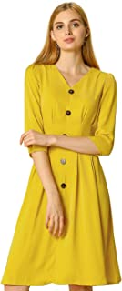 Allegra K Women's Elegant V Neck Button Decor Belted Pleated A-line Dress