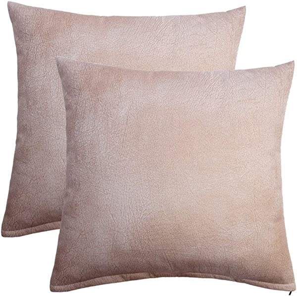 DANLIA Faux Leather Beige Cream White Throw Pillow Covers Accent 18 X 18 Set Of 2 Off White Durable Washable Polyester Decorative Cushion Case For Bed Sofa Kitchen Couch