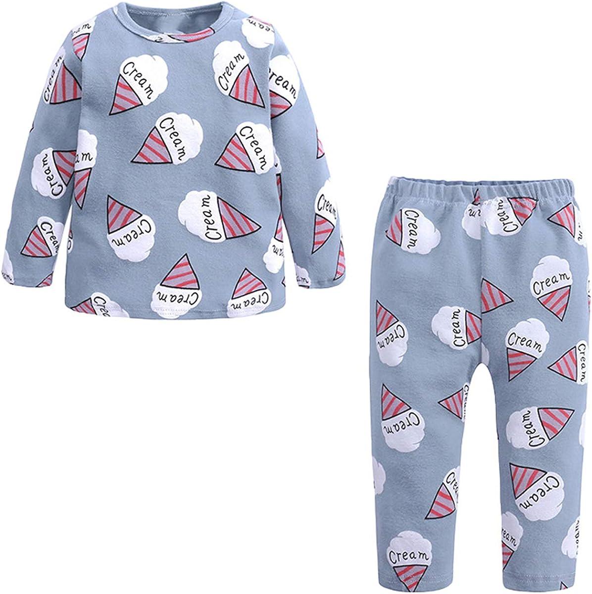 Kids Girl's Thermal Underwear 2 Piece Ice Cream Print Sleepwear Set, Blue, 2-3T = Tag 110