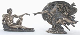 The Genesis Creation of Adam Touching Hands with God 11 Inch Cold Cast Bronze Religious Statue