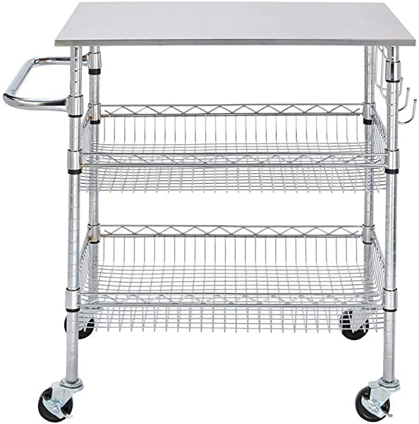 StyleWell H17110706 Gatefield Chrome Large Kitchen Cart With Stainless Steel Top