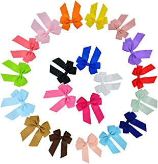 20 Pure Colors 20 Pcs Heymei Baby Girls Simple Solid Butterfly Knot High Elastic Headbands