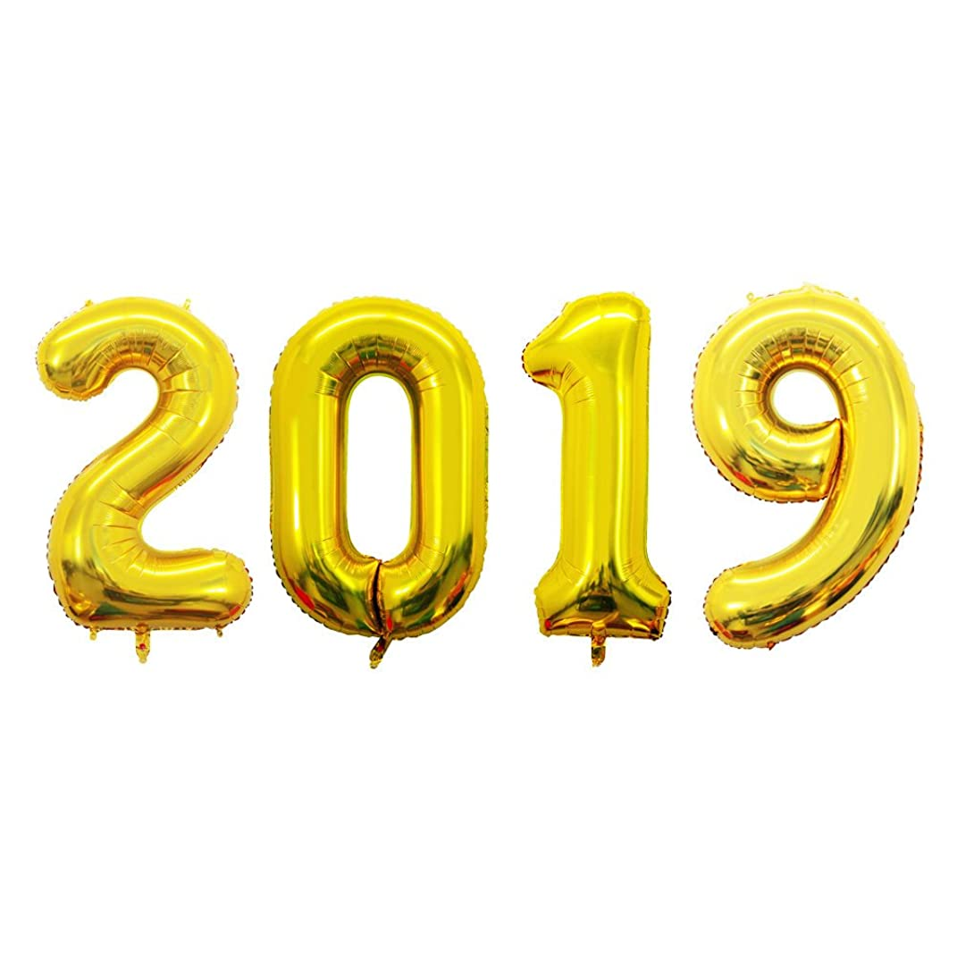 GOER 42 Inch Gold 2019 Number Foil Balloons,2019 Graduation Decorations New Year Eve Festival Party Supplies